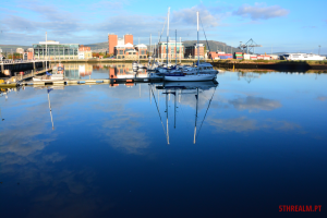 Three boats reflection Belfast